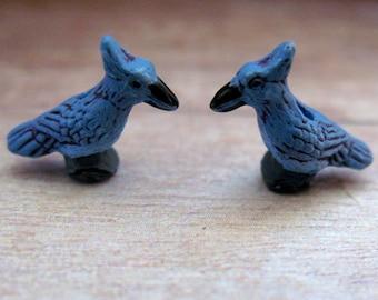 4 Tiny Blue Jay Beads - CB281