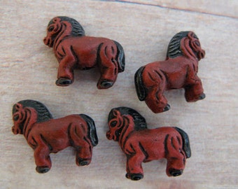 4 Tiny Brown Horse Beads