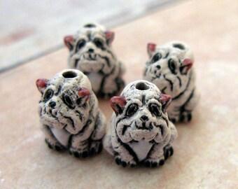 10 Tiny Ceramic White Bulldog Beads - CB115
