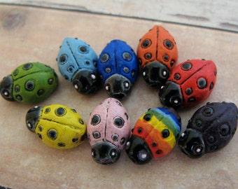 10 Tiny Ladybug Beads - mixed
