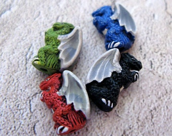 10 Tiny Standing Dragon Beads - mixed