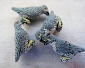 4 Tiny Peregrine Falcon Beads
