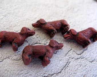 10 Tiny Red Dachshund  Beads - CB266
