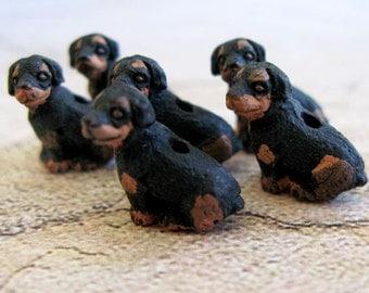 20 Tiny Rottweiler Beads