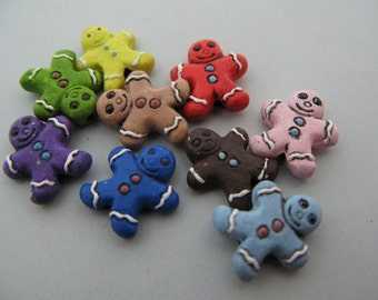 10 Ceramic Beads Tiny Mixed Gingerbread Man - CB507