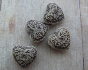 20 Tiny High Fired Heart Beads