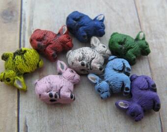 10 Tiny Bunny Beads - mixed