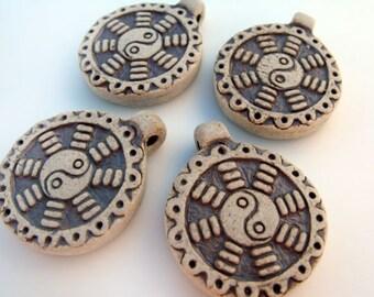 4 Highfired Yin Yang design Pendants