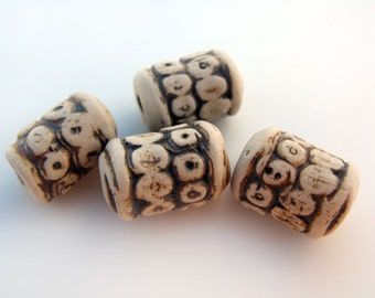 4 Highfired Ceramic Beads With Dots