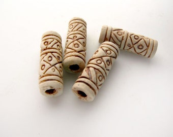 4 Ceramic Highfired Long Beads With Circles - HIFI 106