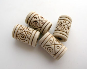 10 High fired Short Beads With Markings - TAN105