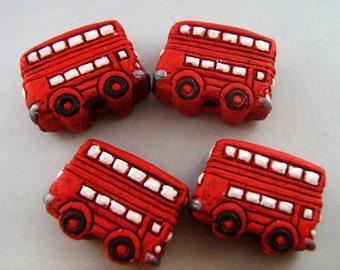 4 Large English Bus Beads