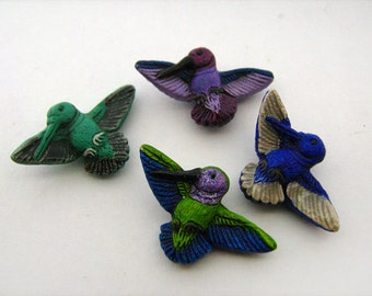 4 Large Hummingbird Beads - mixed