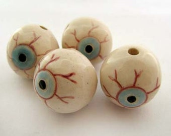 10 Large Eyeball Beads - peruvian, ceramic, large hole - LG580
