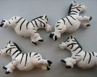 10 Large Cute Zebra Beads - peruvian, ceramic, animal, horse - LG366