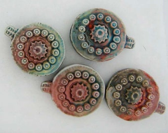10 Raku Circles and Dots Pendants/ Beads