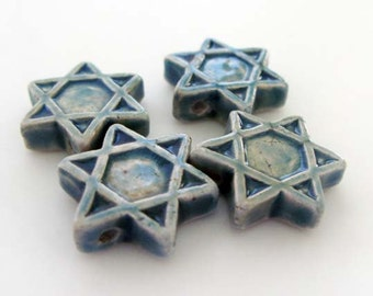 10 Raku Star of David Pendants - Beads