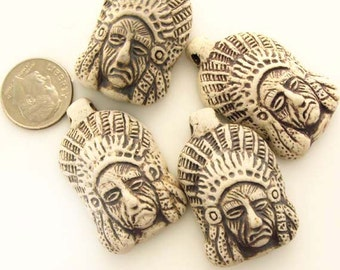 4 Highfired Indian Chief Pendants/Beads