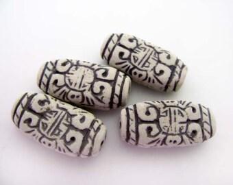 10 High Fired Inca Design Beads