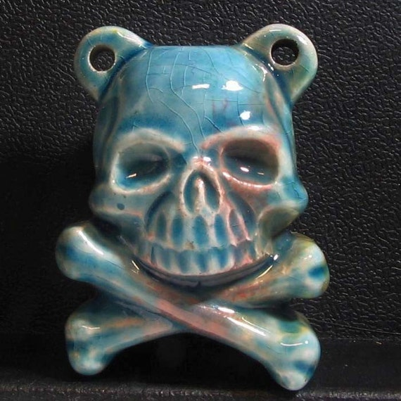 Raku Ceramic Bottle Bead - Skull and Crossbones