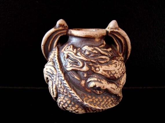 High Fired Ceramic Bottle Bead - Round Dragon - hemp, large hole, vessel, peruvian, fantasy - HFBOT40