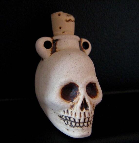 Skull high fired ceramic bottle bead