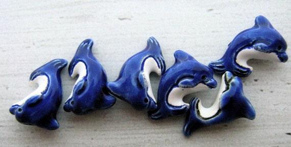 20 Tiny Dolphin Beads - blue - Ceramic, Peruvian, Marine, sealife, water, fish, high fired, animal, pendant - CB59