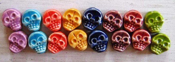 10 Skull Beads - flat mixed colors