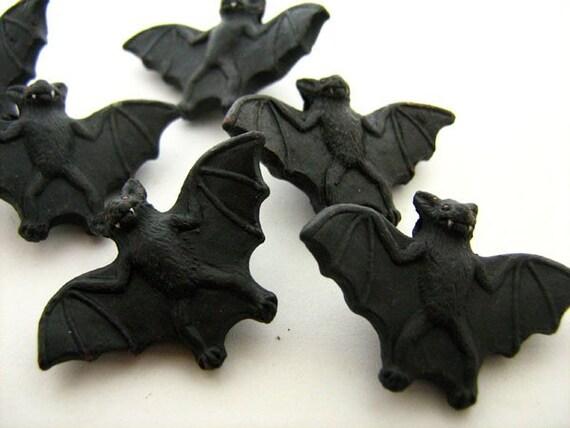 4 Large Black Bat Beads - halloween, animal, ceramic, peruvian, holiday - LG140