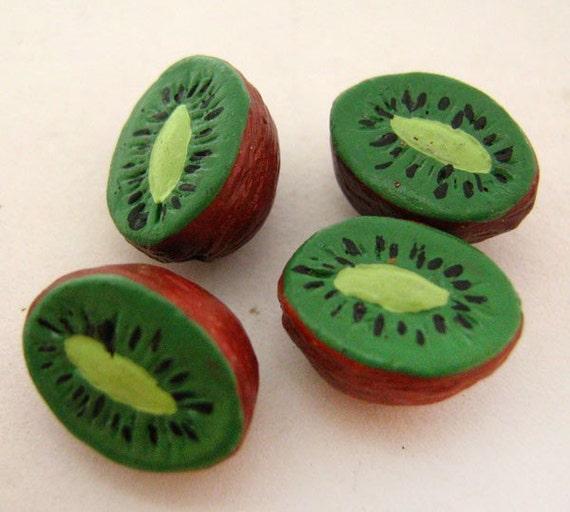 4 TIny Kiwi Beads - CB810