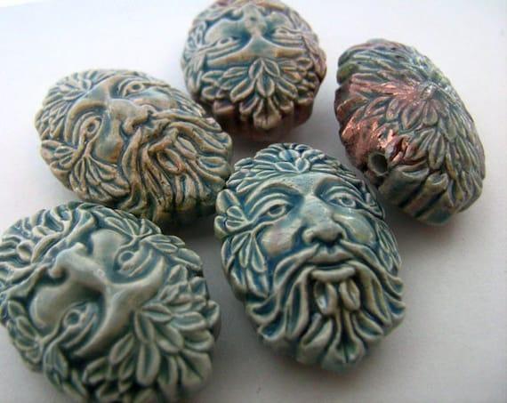 10 Raku Green Man Beads - RK264