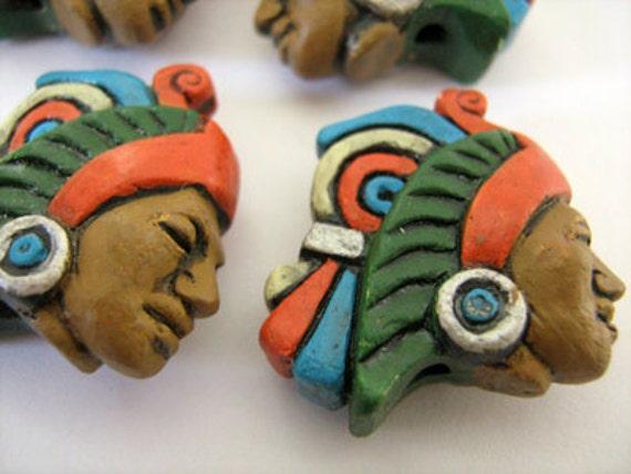 10 Large Aztec Warrior Beads - LG332