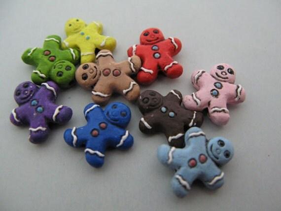 10 Ceramic Beads Tiny Mixed Gingerbread Man - CB507