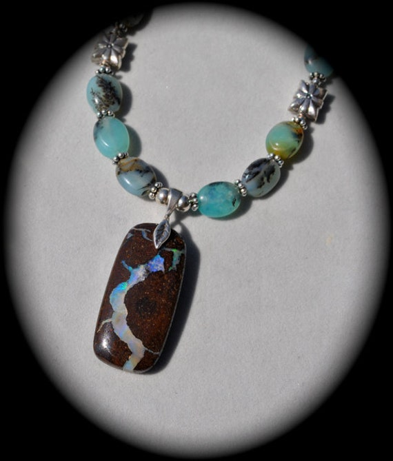 SET Beautiful Boulder Opal with Peruvian Opals necklace and earrings