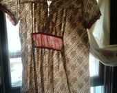 Old Fashioned Gold and Red Patterned- Shirt with Ruffle
