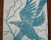 Raven Flying- Original Linocut Print (Blue Ink/Cream Paper)