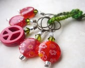Green Crystal & Red Glass Bead Knitting Stitch Marker Set