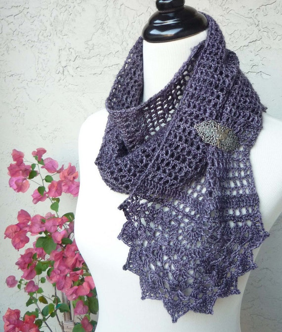 Blossomy Crocheted Mesh and Lace Scarf - FINISHED, WEARABLE SCARF
