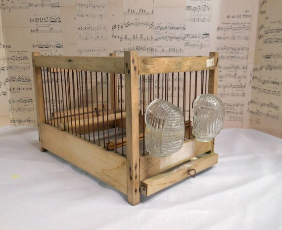 Vintage Bird Cage - Pressed glass feed cups
