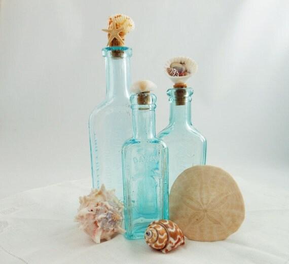 Vintage Apothecary Bottles  -  Aqua Bottles  -  Shell Embellisment Bottles