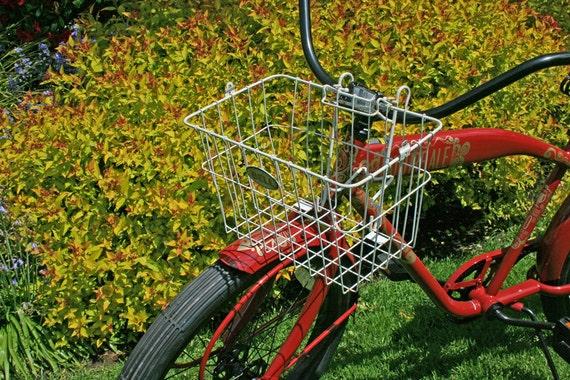 Vintage White Wire Basket, Bell Bicycle Basket, White Metal Storage