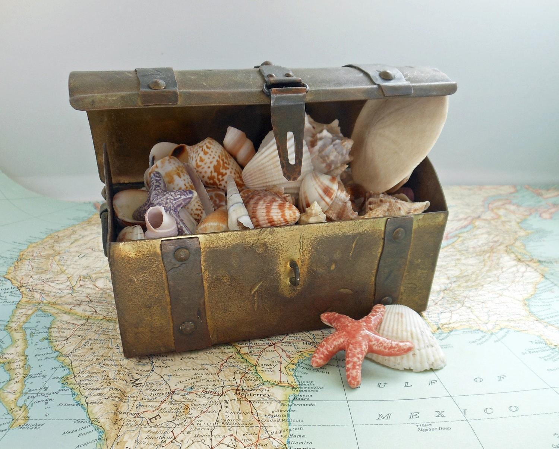 Toy Treasure Chest Beach : Vintage brass treasure chest beach decor shabby chic