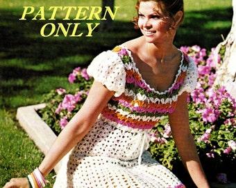 Crochet pattern - Peasant dress - instant download - pdf pattern