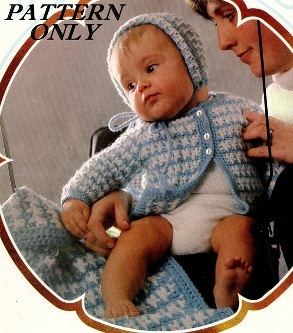 Crochet pattern - Baby -  Sweater, hat and blanket