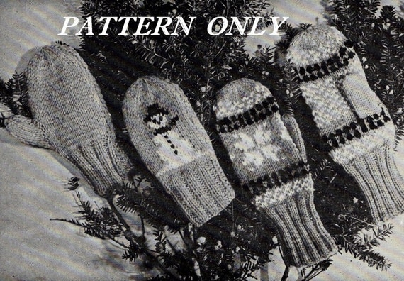 Knit patterns - Mittens - instant download pdf pattern