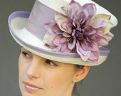 Cream Straw Victorian English Riding Hat. Wedding, Derby. Lavender Trim