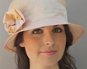 Apricot Sherbet Straw Cloche. Wedding, Garden Party Hat