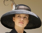 Wide Brim Black & Taupe Straw Kentucky Derby Church Hat
