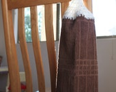 Crochet top hanging kitchen towel - Chocolate Coffee Brown