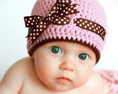 The Chloe Hat - Pretty Pink hat with a brown and pink polka dot bow - 3-6 months